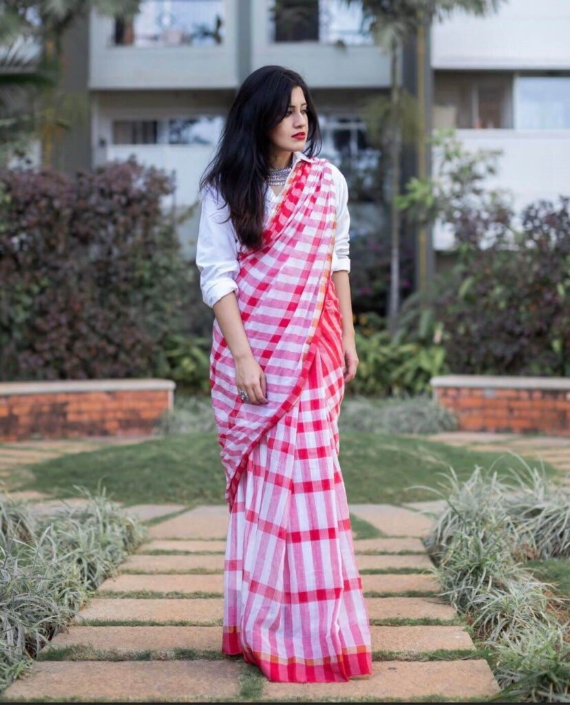 Shirt with Check Print Cotton Saree